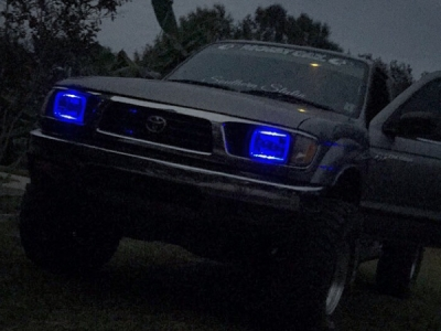 Toyota Tacoma 1995 1997 Blue Halo Sealed Beam Projector Headlight Conversion Customer Photo