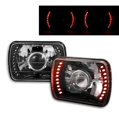 Chevy Citation 1980-1985 Red LED Black Chrome Sealed Beam Projector Headlight Conversion