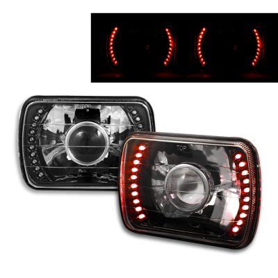 Chevy Corvette 1984-1996 Red LED Black Chrome Sealed Beam Projector Headlight Conversion