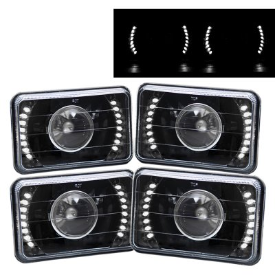 Chevy El Camino 1982-1987 White LED Black Sealed Beam Projector Headlight Conversion Low and High Beams