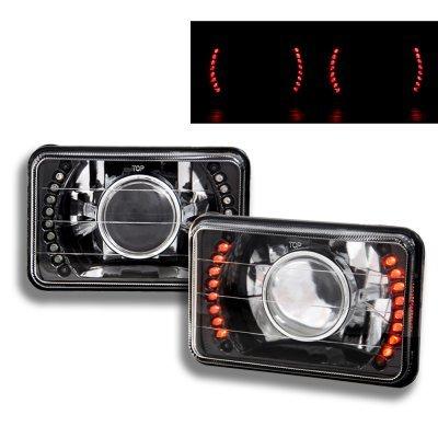 Cadillac Eldorado 1975-1985 Red LED Black Chrome Sealed Beam Projector Headlight Conversion