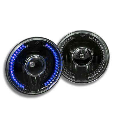 1975 Ford F100 Blue LED Black Sealed Beam Projector Headlight Conversion
