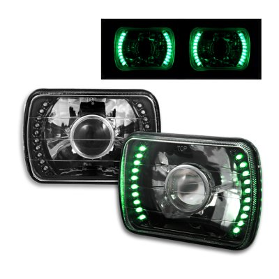 Nissan Hardbody 1986-1997 Green LED Black Chrome Sealed Beam Projector Headlight Conversion