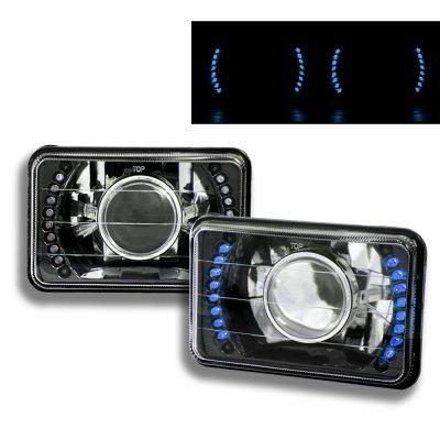 Dodge Dakota 1987-1990 Blue LED Black Chrome Sealed Beam Projector Headlight Conversion