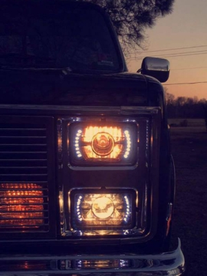 Jeep Wrangler Led Headlights >> Chevy C10 Pickup 1981-1987 LED Black Sealed Beam Projector Headlight Conversion Low and High ...