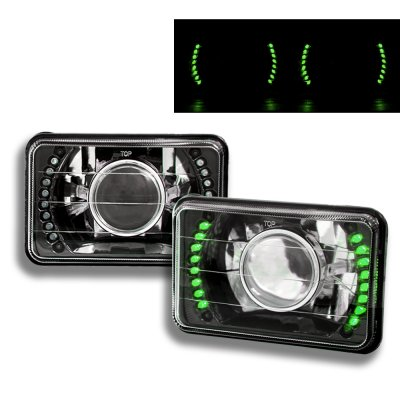 Mitsubishi 3000GT 1990-1993 Green LED Black Chrome Sealed Beam Projector Headlight Conversion