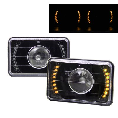 Chevy Blazer 1995-1997 Amber LED Black Sealed Beam Projector Headlight Conversion