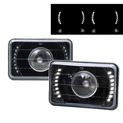 Lincoln Town Car 1986 1989 White Led Black Sealed Beam Projector