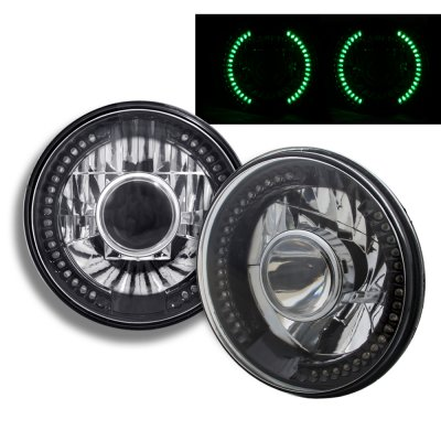Ford F250 1969-1979 Green LED Black Chrome Sealed Beam Projector Headlight Conversion