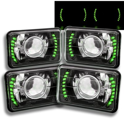 Chevy Blazer 1981-1988 Green LED Black Chrome Sealed Beam Projector Headlight Conversion Low and High Beams