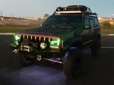Jeep Cherokee 1979 2001 Green Led Black Chrome Sealed Beam