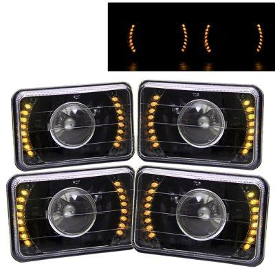 Cadillac Cimarron 1982-1985 Amber LED Black Sealed Beam Projector Headlight Conversion Low and High Beams