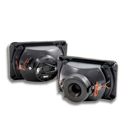 Chevy Camaro 1982-1992 Amber LED Black Chrome Sealed Beam Projector Headlight Conversion Low and High Beams