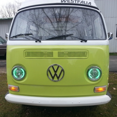 VW Bus 1968-1979 Green LED Sealed Beam Projector Headlight ...