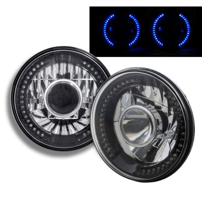 Ford F250 1969-1979 Blue LED Black Chrome Sealed Beam Projector Headlight Conversion