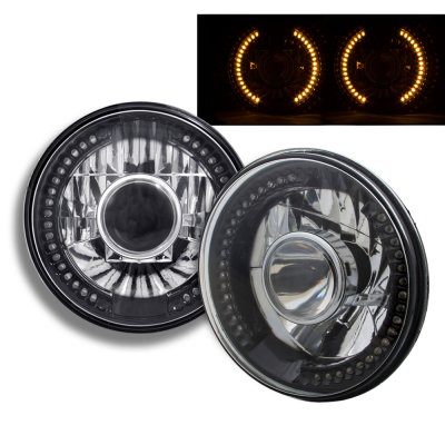Chevy Chevette 1976-1978 Amber LED Black Chrome Sealed Beam Projector Headlight Conversion