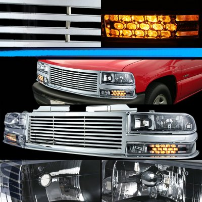 Chevy S10 1998-2002 Chrome Billet Grille and Black Euro