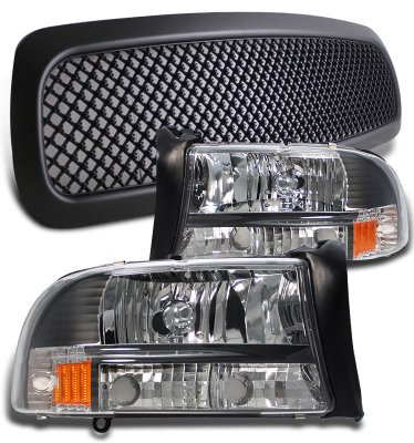 Dodge Dakota 1997 2004 Black Mesh Grille And Euro Headlights Set A10159c4213 Topgearautosport