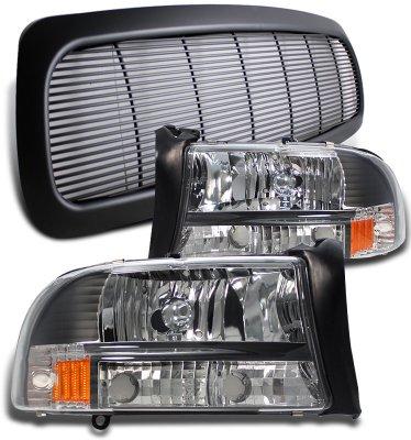 Dodge Durango 1998 2003 Black Billet Grille And Headlights