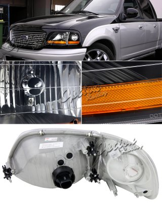 Ford F150 1997 2003 Black Harley Headlights Set A1019m5b213