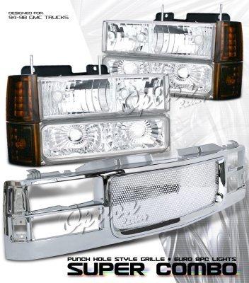 gmc sierra 2500 1994 2000 chrome custom grille and. Black Bedroom Furniture Sets. Home Design Ideas