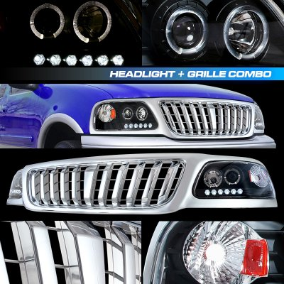 Ford F150 1999-2003 Chrome Bar Grille and Black Projector Headlights