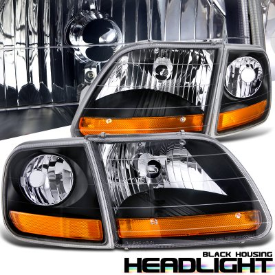 Ford Expedition 1997-2002 Black Harley Headlights Set