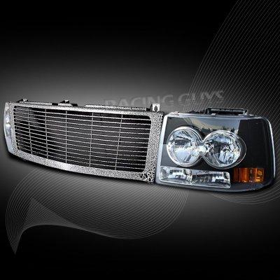 2001 Dodge Ram 1500 Headlights >> Chevy Tahoe 2000-2006 Black Custom Grille and Headlight ...