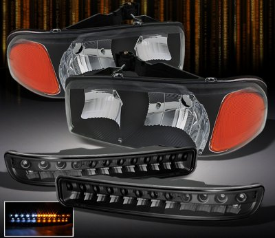 GMC Yukon 2000-2006 Black Euro Headlights and LED Bumper Lights