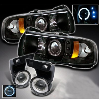 Dodge Ram 1994 2001 Black Projector Headlights And Halo Fog Lights A103uj16213 Topgearautosport