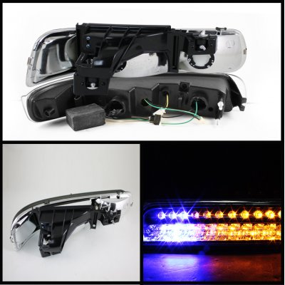 Chevy Silverado 1999-2002 Chrome Projector Headlights Bumper Lights and LED Tail Lights