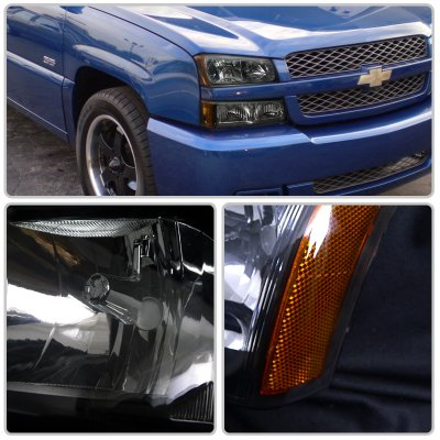 Chevy Silverado 2500 2003 2004 Black Euro Headlights And Bumper