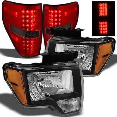 ford f150 2009 2014 black headlights and red smoked led. Black Bedroom Furniture Sets. Home Design Ideas