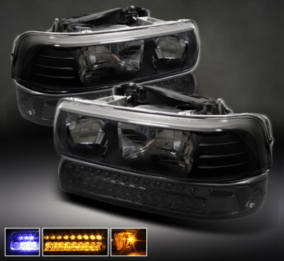Chevy Tahoe 2000 2006 Black Headlights And Smoked Led