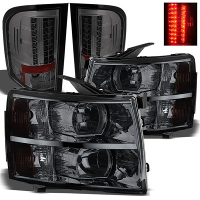 Chevy Silverado 2500hd 2007 2017 Smoked Headlights And Led Tail Lights A103uee9213 Topgearautosport