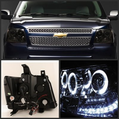 Chevy Avalanche 2007 2013 Smoked Halo Projector Headlights