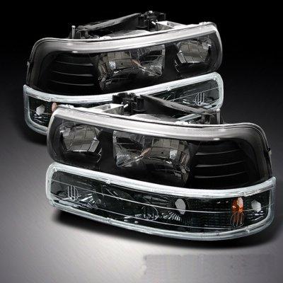 Chevy Silverado 1999 2002 Black Crystal Headlights And Per Lights A10366lc213 Topgearautosport