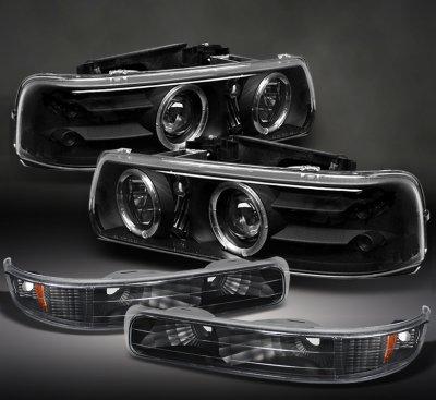 Chevy Silverado 1999 2002 Black Projector Headlights And