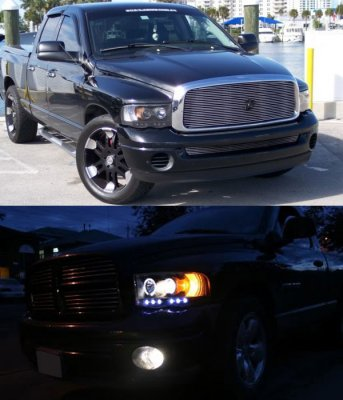Dodge Ram 2002 2005 Black Projector Headlights And Led Tail Lights