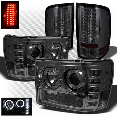 GMC Sierra 2500HD 2007-2014 Smoked Halo Projector Headlights and LED Tail Lights