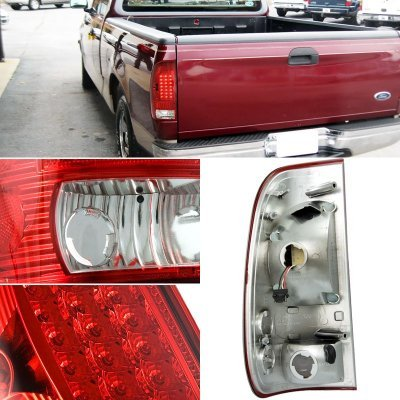 Ford F150 1997-2003 Clear Headlights LED DRL Signal LED Tail Lights Red