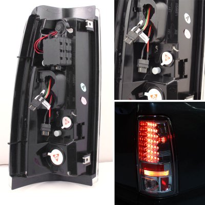 For Smoked 2003-2006 Chevy Silverado LED Tail Brake Lights Stop Lamps Left+Right Set ACANII