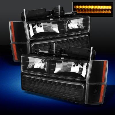 GMC Yukon 1992-1993 Black Euro Headlights and LED Bumper Lights