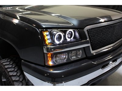 Chevy Silverado 2500 2003 2004 Black Halo Projector Headlights And Per Lights