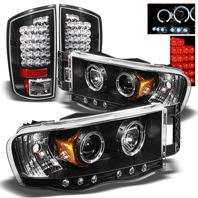 Dodge Ram 2002 2005 Black Projector Headlights And Led Tail Lights A103z7p0213 Topgearautosport