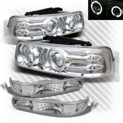 Chevy Tahoe 2000-2006 Clear Projector Headlights and Bumper Lights