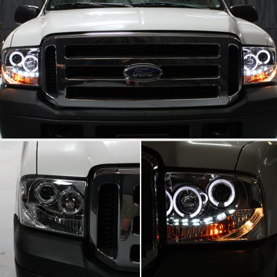 Ford F250 Super Duty 2005 2007 Smoked Projector Headlights And Led Tail Lights