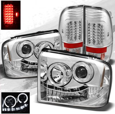 Ford F250 Super Duty 2005-2007 Chrome Projector Headlights and LED Tail Lights