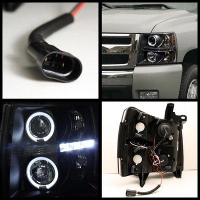 Chevy Silverado 2500HD 2007-2014 Black Headlights and Tail Lights