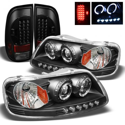 Ford F150 1997-2003 Black Projector Headlights and LED Tail Lights